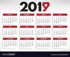 Year Month Calendar 2019 Calendar All Year Months Days With Heart Vector Image