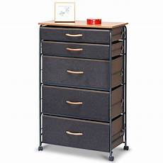 costway 5 drawer fabric storage organizer unit metal frame