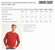 Comfort Colors Long Sleeve Color Chart Comfort Colors Long Sleeve T Shirt Size Chart Tennessee