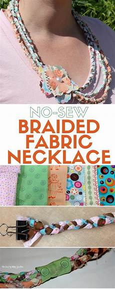 no sew braided fabric necklace tutorial the crafty