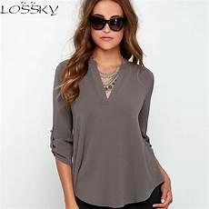 womens length sleeve tops 2017 big yard tops v neck chiffon blouses 3 4 sleeve