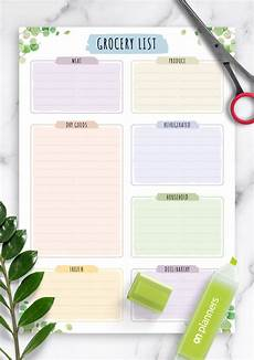 Grocery List Template Printable Download Printable Grocery List Template Floral Style Pdf