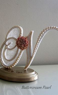 cake topper wedding pearl letter n wedding engraving