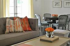 orange curtains in french living room