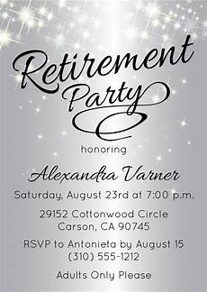 Template For Retirement Party Invitation Silver Retirement Party Invitation Retirement Party Invite
