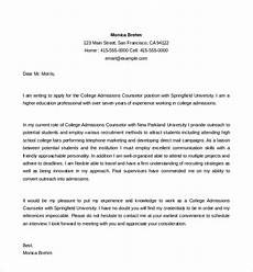 Admissions Recruiter Cover Letter Free 5 Sample Admission Counselor Cover Letter Templates
