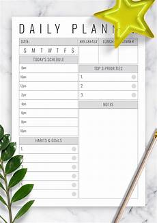 Downloadable Daily Planner Download Printable Undated Daily Planner With Big Section