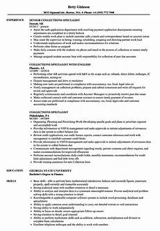Collection Resume Examples Collections Specialist Resume Samples Velvet Jobs