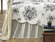 black white ticking stripe king bed skirt