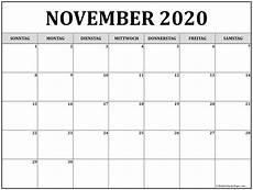 November 2020 Calendar Printable November 2020 Kalender Kalender 2020