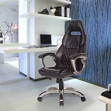 Warmiehomy Office Chair Swivel Faux Leather Armchair Height Adjustable by Faux Leather Chair Swivel Adjustable Height Black White