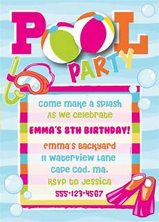 Pool Party Invitations Wording Pool Party Birthday Invitation Girl By Anchorbluedesign On