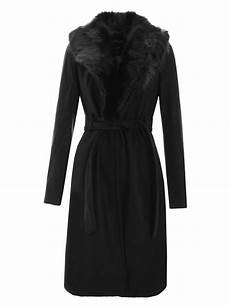 new womens black fur collar faux wool belted