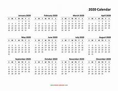 2020 Calendar Free Download Yearly Calendar 2020 Free Download And Print