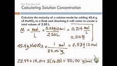 Chemistry Concentration Problems 4 4 Solution Concentration Amp Solution Stoichiometry Youtube