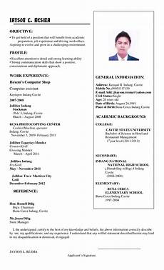 How To Do A Resume Sample Jhayson Resume