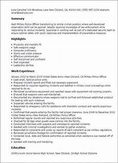 Sample Resume Police Officer Professional Military Police Officer Templates To Showcase