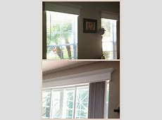 I hate hate hate curtains so I made cornices to 'dress up