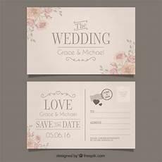 Invitation Postcard Template Wedding Invitation In Postcard Style Free Vector