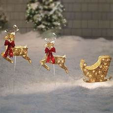 Lighted Santa Sleigh And Reindeer Outdoor Santa Sleigh And Reindeer Gold Pre Lit Holiday Christmas