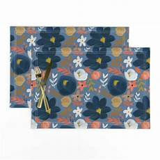 cloth placemats navy mustard fall blue farm autumn