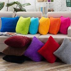 Sofa Pillows Solid 3d Image by Soft Comfortable Fluffy Solid Plush Square Sofa Cushion