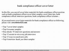 Compliance Officer Cover Letter Bank Compliance Officer Cover Letter