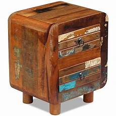 festnight side end table reclaimed wood nightstand with 2