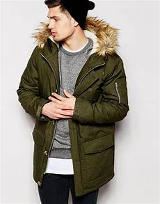 parka coats lyst asos parka jacket with faux fur trim in khaki in