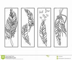 Malvorlagen Lesezeichen Kostenlos Feather Bookmarks Coloring Page Stock Illustration