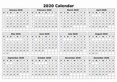 Microsoft 2020 Calendar Template 2020 One Page Calendar Printable Printable Calendar