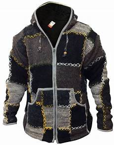 mens wool patchwork fleece lined hippy jacket boho