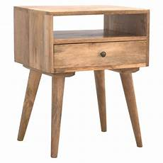 handmade mango 1 drawer open shelf bedside table