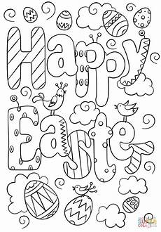 happy easter doodle coloring page free printable