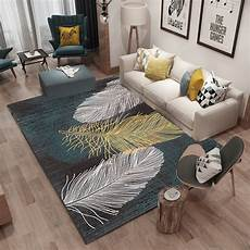 the nordic abstract feather living room carpet coral