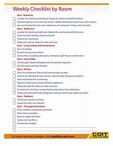 Cleaning Checklist By Room Weekly Cleaning Checklist By Rooms Coit
