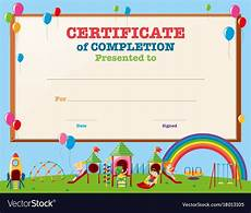 Free Certificate Template For Kids Certificate Template With Kids In Playground Vector Image