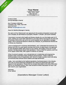 Operations Manager Cover Letter Samples Operations Manager Cover Letter Sample Resume Genius