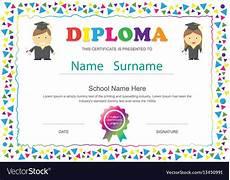 Preschool Graduation Certificates Preschool Kids Diploma Certificate Elementary Vector Image