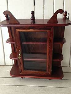 vintage wood curio cabinet wall hanging display shelf for