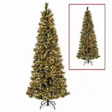 7 5 Slim Christmas Tree With Led Lights National Tree Company 7 5 Ft Powerconnect Glittering Pine