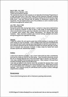 Cvs Examples For Personal Profile Sample Cvs Uk And International Designed By Bradley Cvs