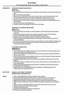 College Recruiter Resume University Recruiter Resume Samples Velvet Jobs