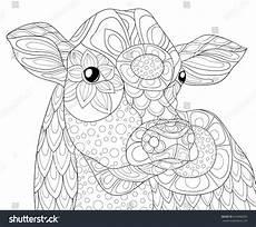 Ausmalbilder Mandala Bauernhof Coloring Page Cow Style Stock Vector 624968300