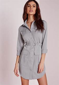 lyst missguided exclusive belted shirt dress grey
