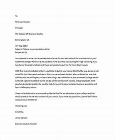 Letter Of Recommendation College Admission Letter Of Recommendation Example 8 Samples In Pdf Word
