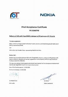 Sample Of Certificate Of Acceptance Acceptance Certificate 35868746 Signed Rideontrack