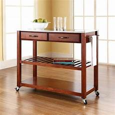 cherry kitchen island cart crosley 2 drawer stainless steel top kitchen cart in