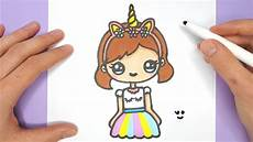 Cute Drawlings How To Draw A Cute Unicorn Girl Super Easy Happy