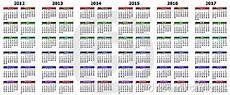 A Year Calendar Calendar For Years 2012 2017 Royalty Free Stock Photo